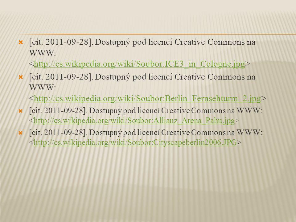 [cit. 2011-09-28]. Dostupný pod licencí Creative Commons na WWW: <http://cs.wikipedia.org/wiki/Soubor:ICE3_in_Cologne.jpg>
